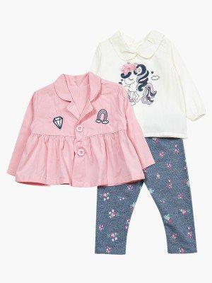 Комплект для девочки: блузка, лосины и жакет