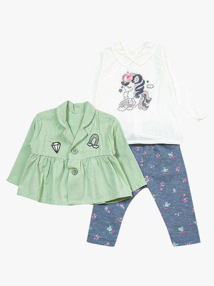 Комплект для девочки: блузка, лосины и жакет, цвет: мятный