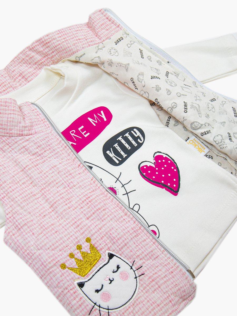 Комплект для девочки: лонгслив, лосины и жилет утепленный, цвет: розовый