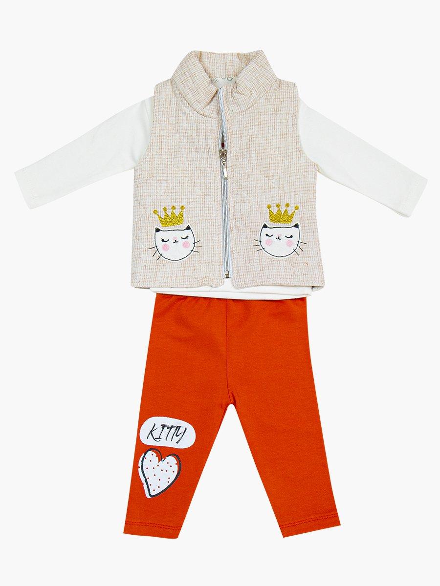 Комплект для девочки: лонгслив, лосины и жилет утепленный, цвет: кирпичный