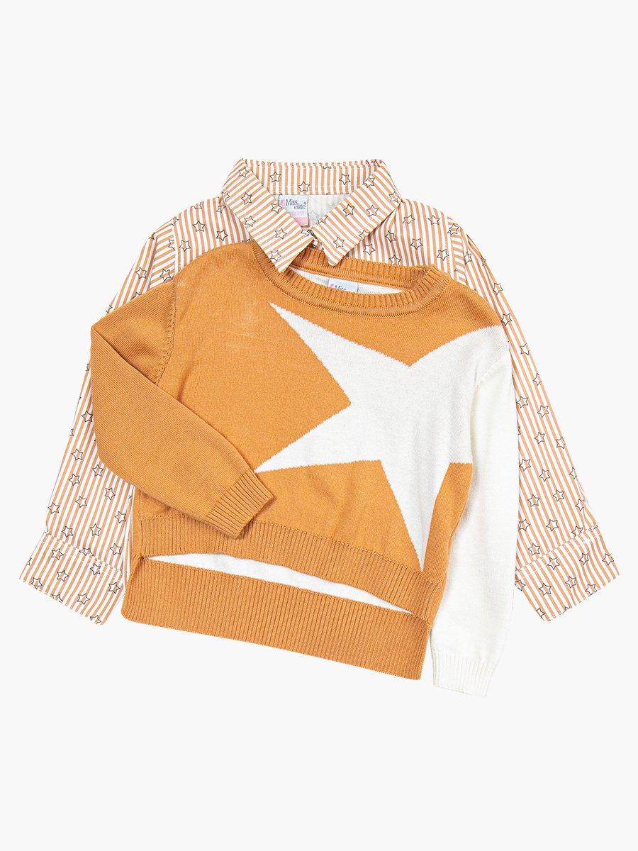 Комплект для девочки: рубашка, джемпер и джинсы с поясом, цвет: бежевый