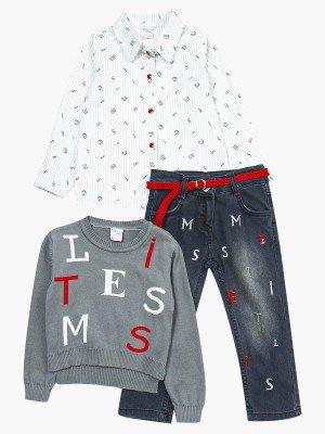 Комплект для девочки: рубашка, джемпер и джинсы с поясом