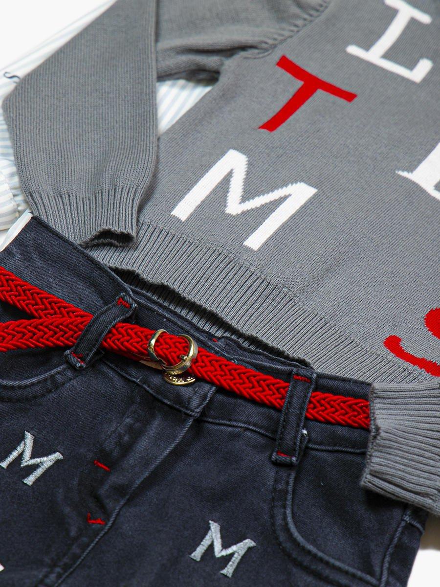 Комплект для девочки: рубашка, джемпер и джинсы с поясом, цвет: серый