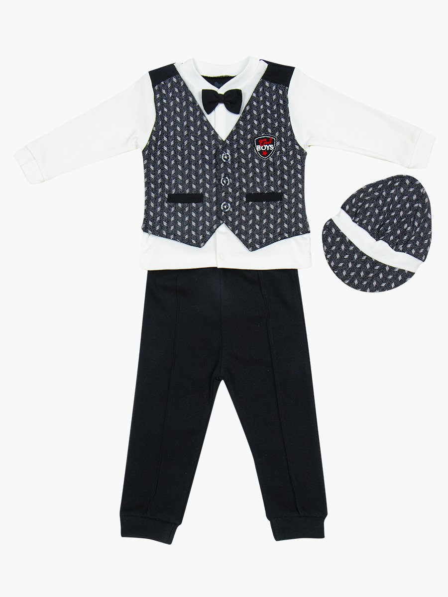 Комплект для мальчика: кофточка, штанишки и шапочка, цвет: черный