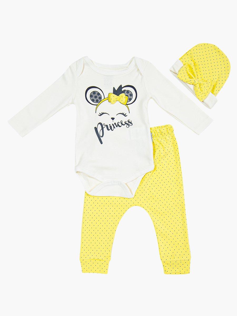 Комплект для девочки: боди, ползунки и шапочка, цвет: лимонный
