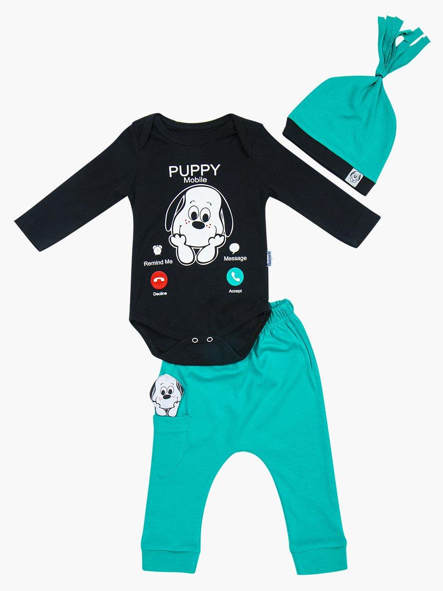 Комплект детский: боди, штанишки и шапочка, цвет: изумрудный
