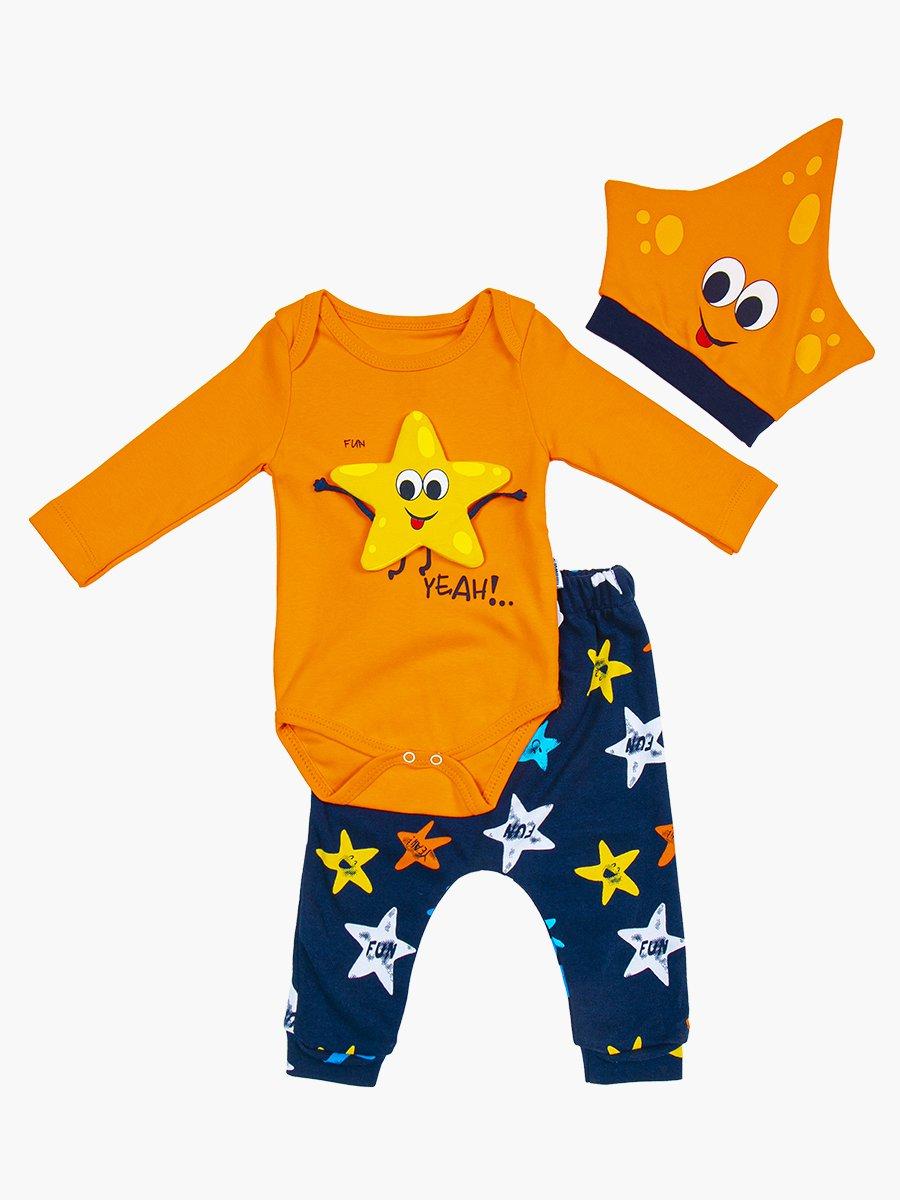 Комплект детский: боди, штанишки и шапочка, цвет: оранжевый