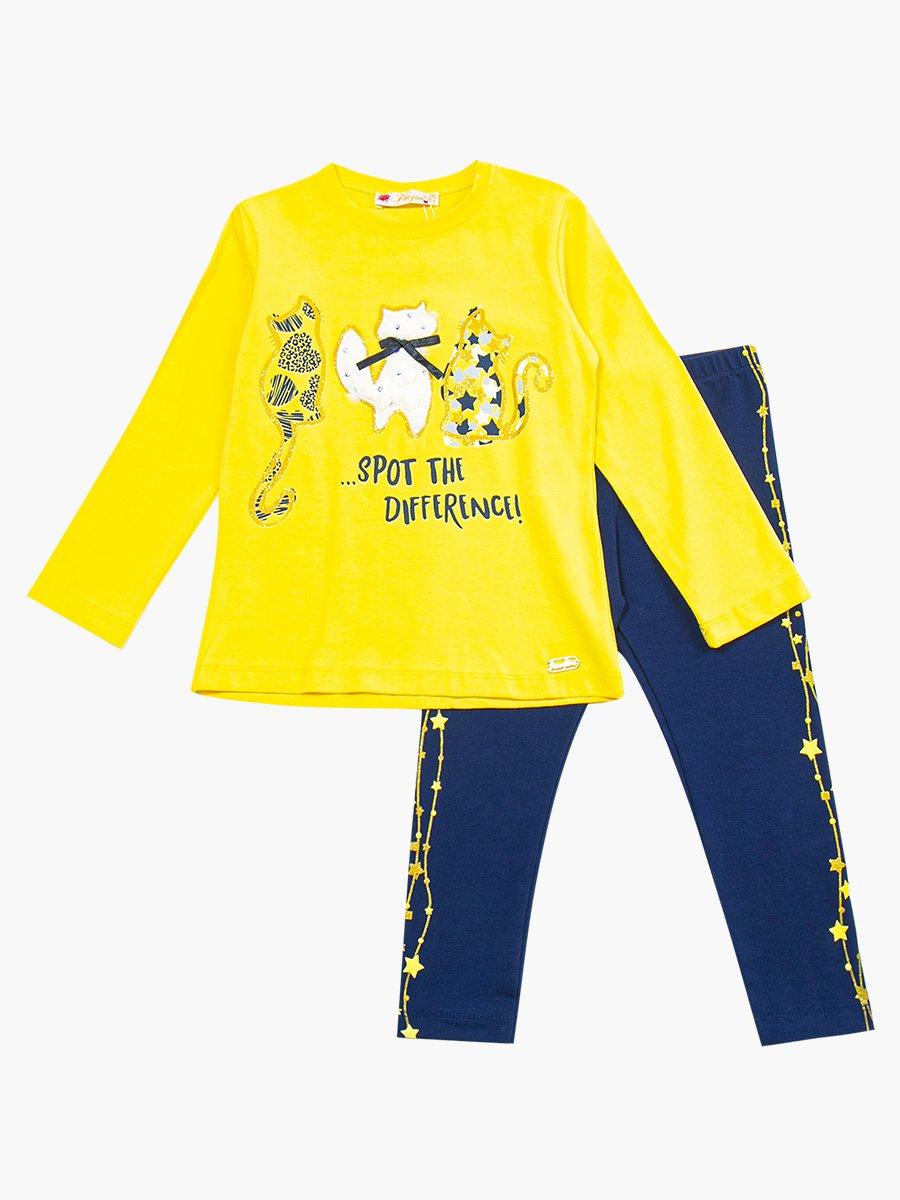 Комплект для девочки: лонгслив и лосины, цвет: желтый