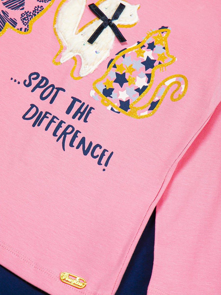Комплект для девочки: лонгслив и лосины, цвет: розовый