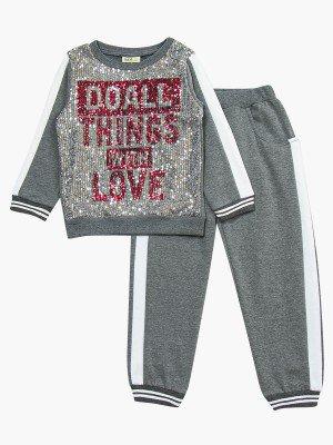Комплект с начесом для девочки: свитшот и штанишки