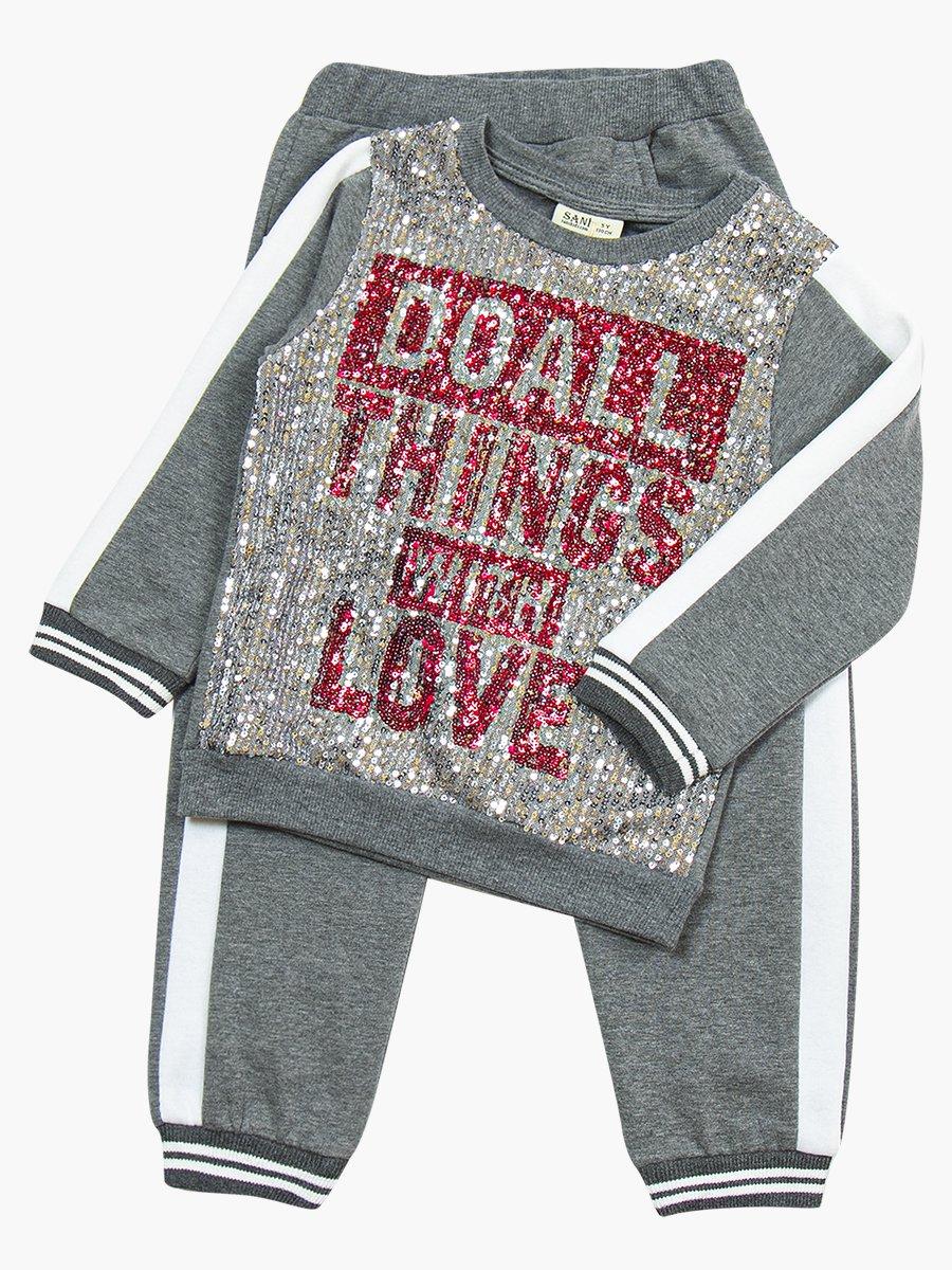 Комплект с начесом для девочки: свитшот и штанишки, цвет: серый