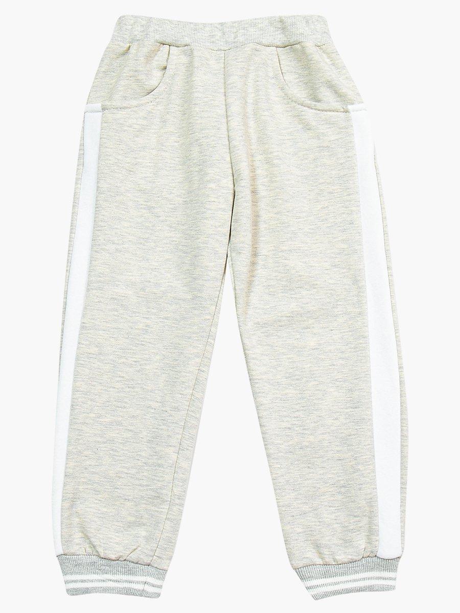 Комплект с начесом для девочки: свитшот и штанишки, цвет: светло-серый