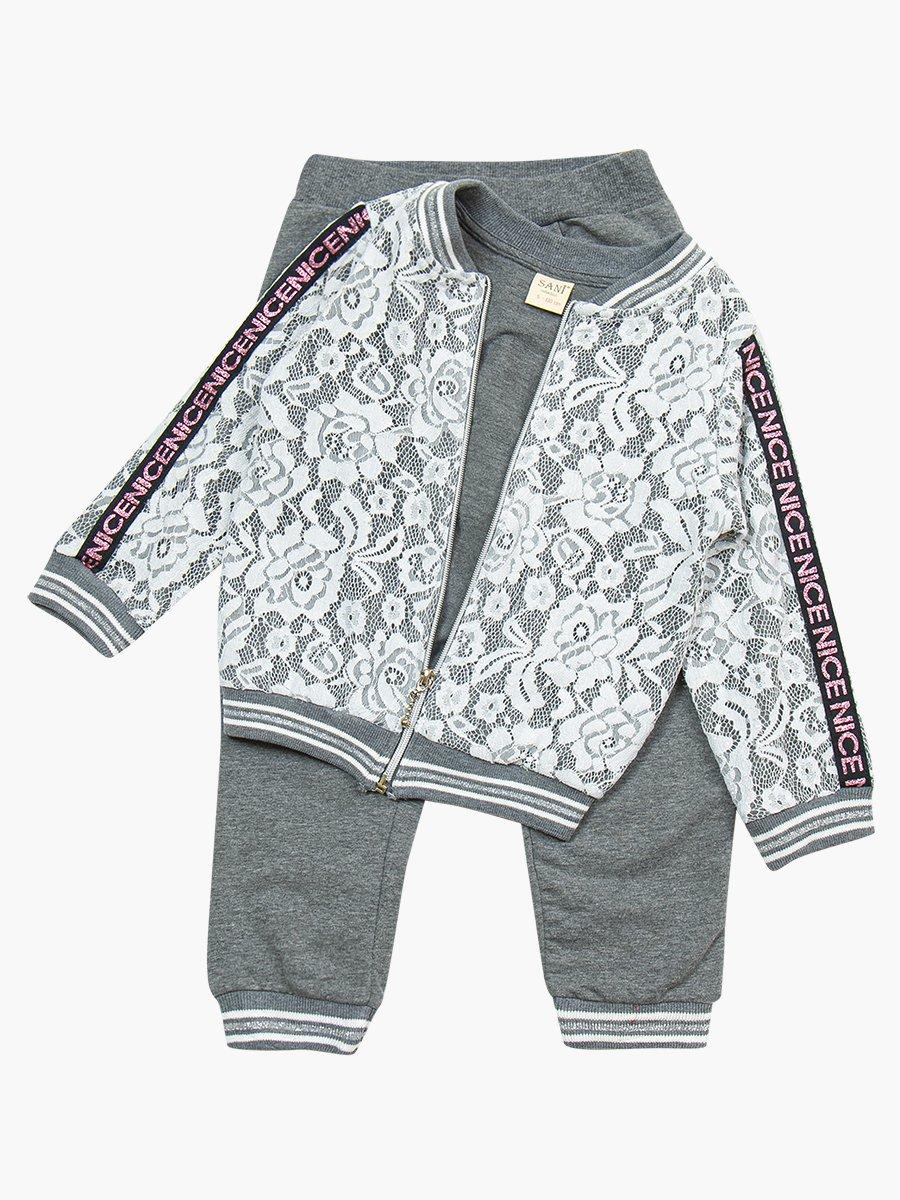 Комплект для девочки: толстовка и штанишки, цвет: серый