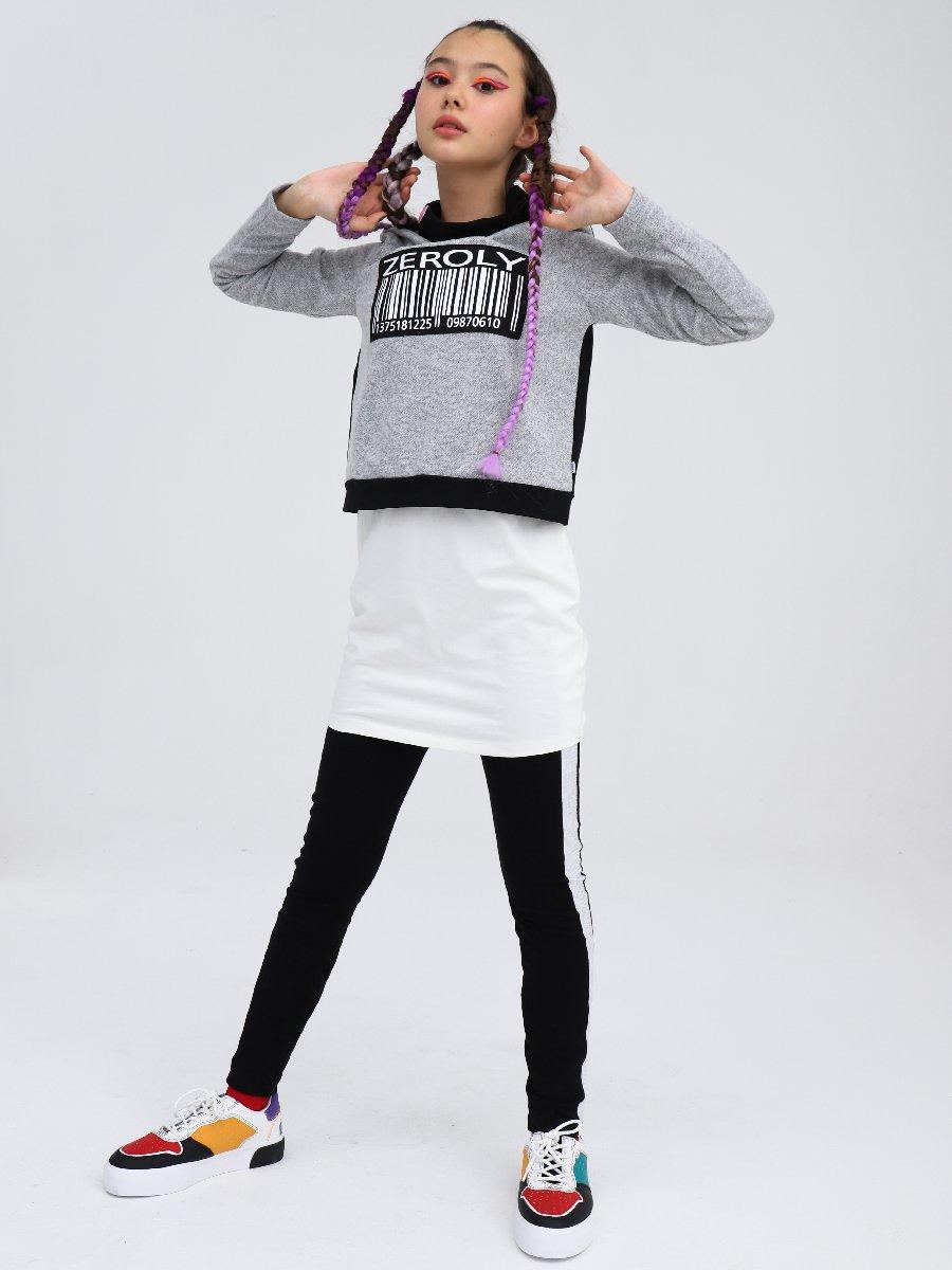 Толстовка укороченная прямого силуэта для девочки, цвет: серый меланж