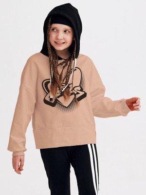 Толстовка оверсайз с капюшоном для девочки