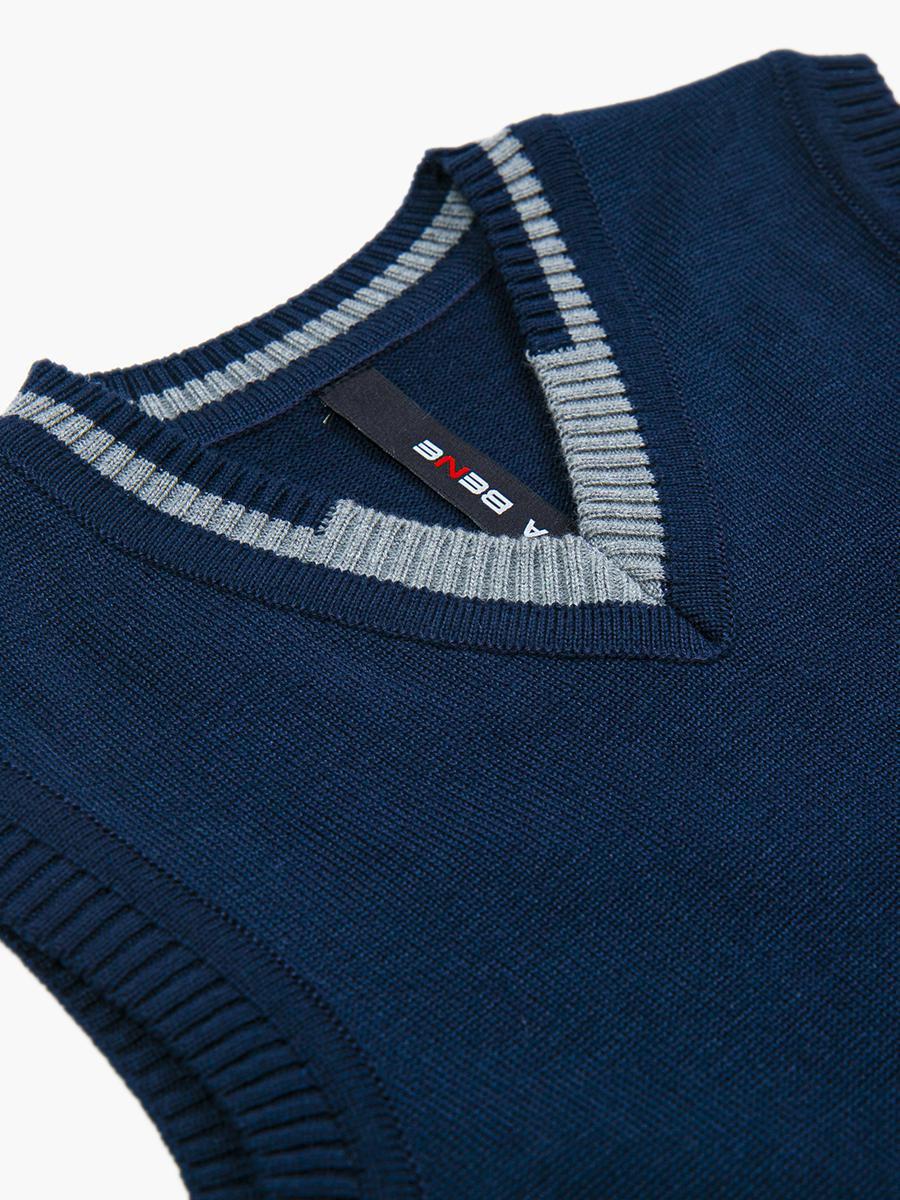 Жилет вязаный для мальчика, цвет: синий