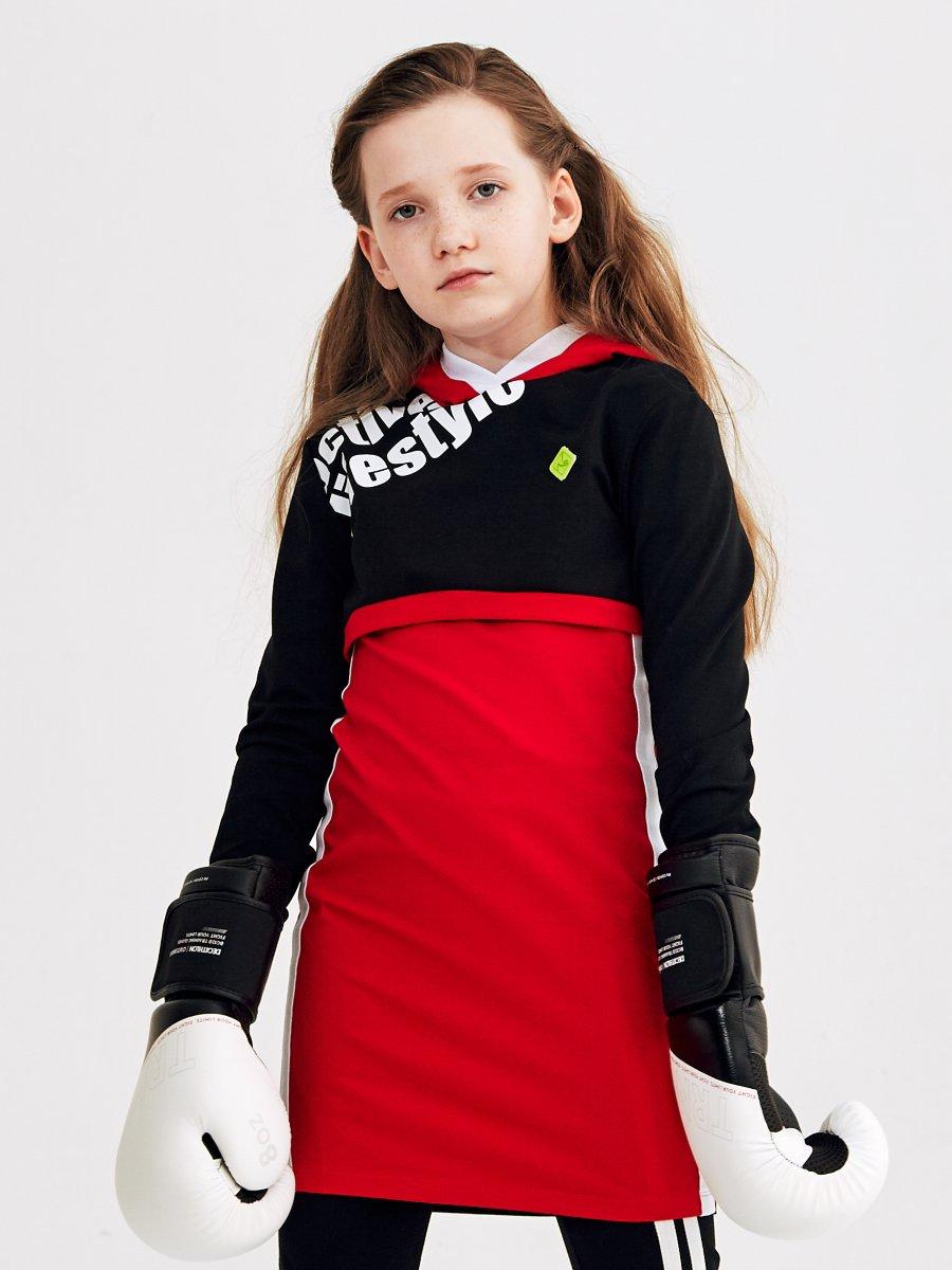 Комплект: толстовка укороченная и платье прилегающего силуэта, цвет: красный