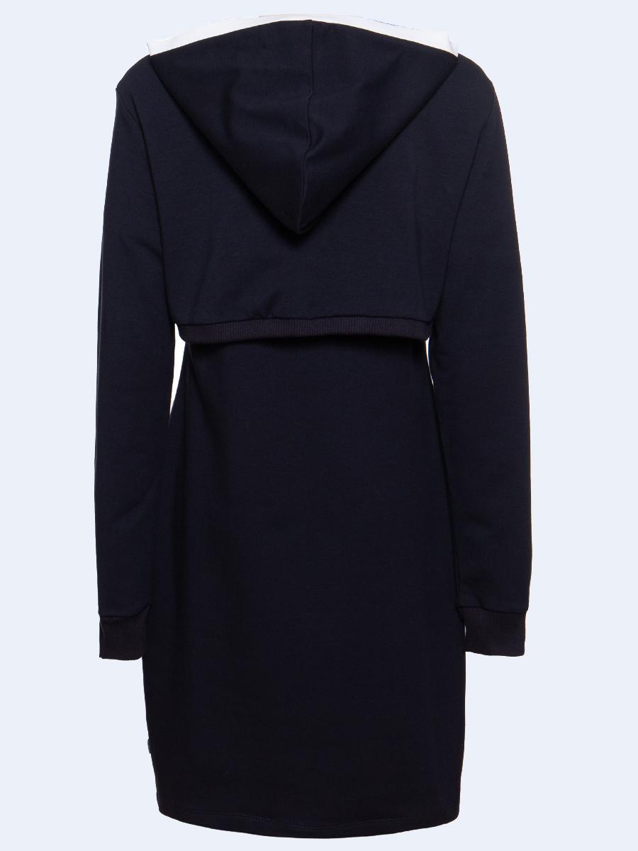 Комплект:толстовка и платье прилегающего силуэта, цвет: темно-синий