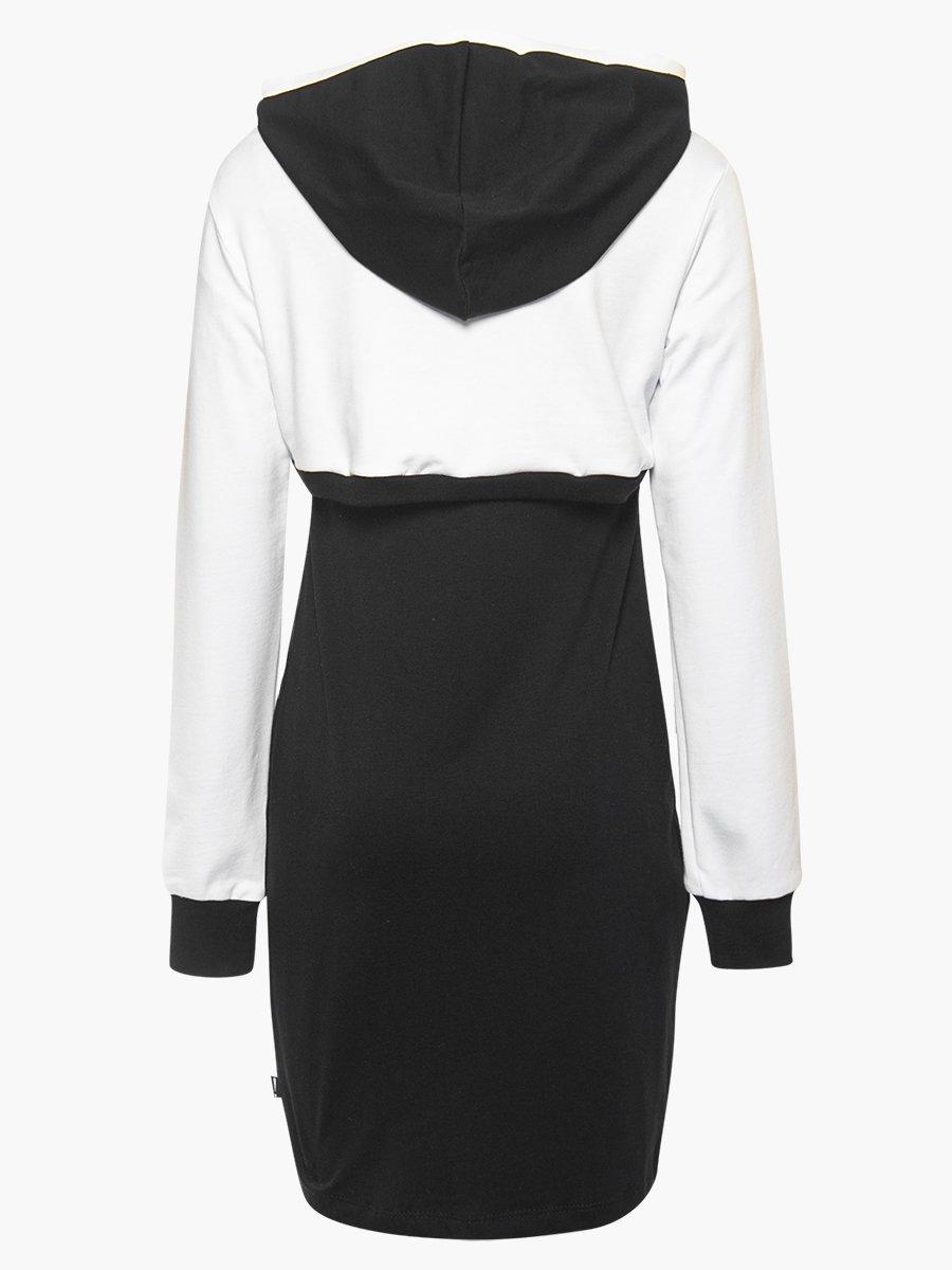 Комплект: толстовка укороченная и платье прилегающего силуэта, цвет: черный