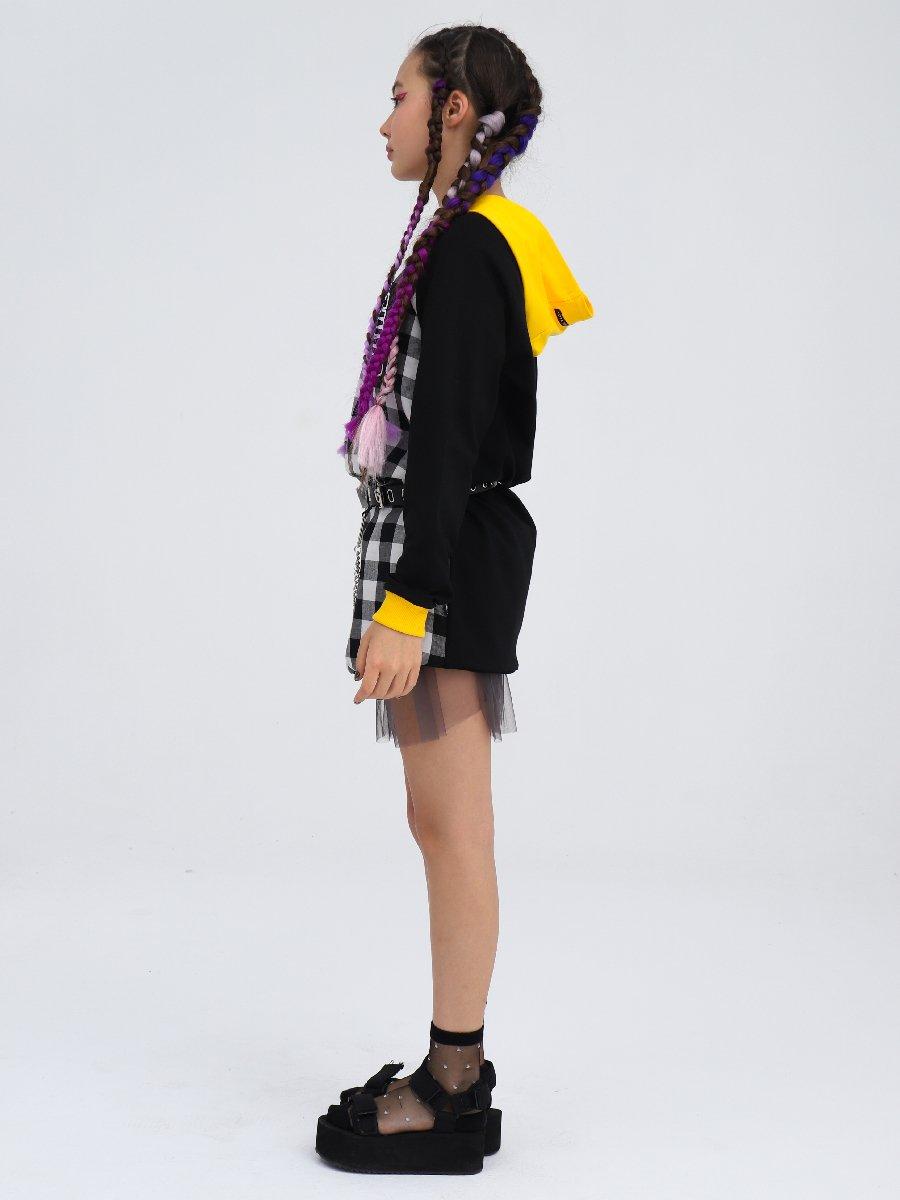 Платье прямого силуэта с капюшоном, цвет: черный