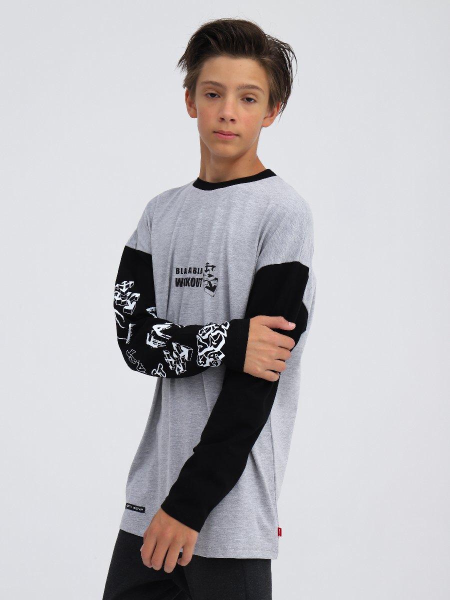 Лонгслив  для мальчика, цвет: серый меланж