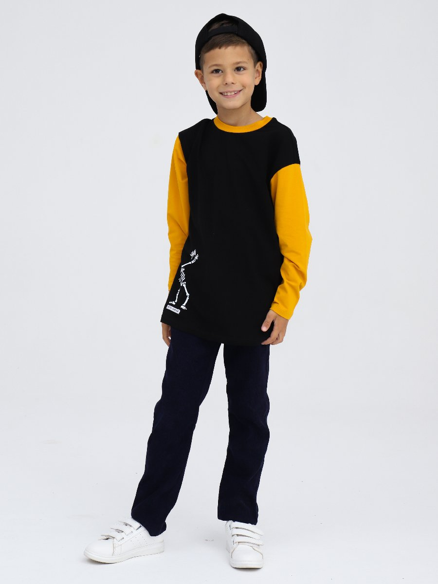 Лонгслив  для мальчика, цвет: черный