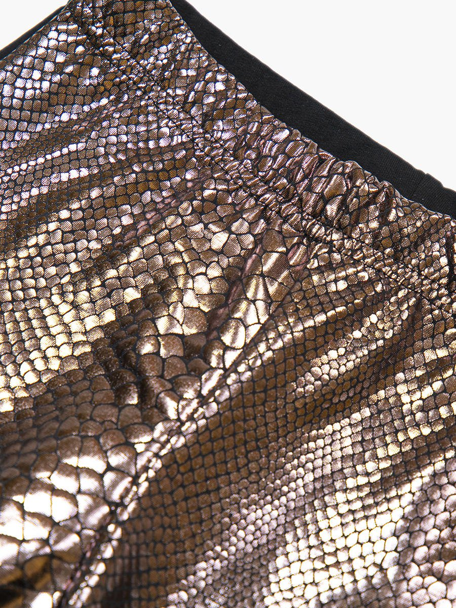 Лосины для девочки, цвет: бронзовый,черный