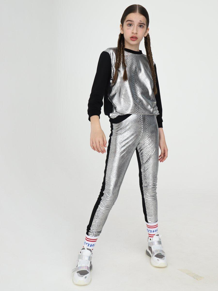 Лосины для девочки, цвет: серебряный