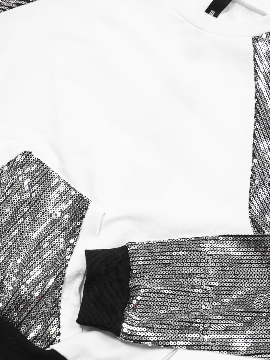 Комплект: свитшот и шорты прямые со средней посадкой, цвет: серебряный