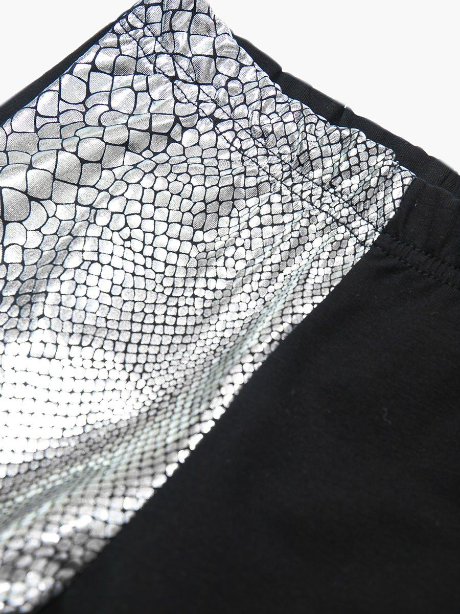 Лосины для девочки, цвет: серебряный,черный