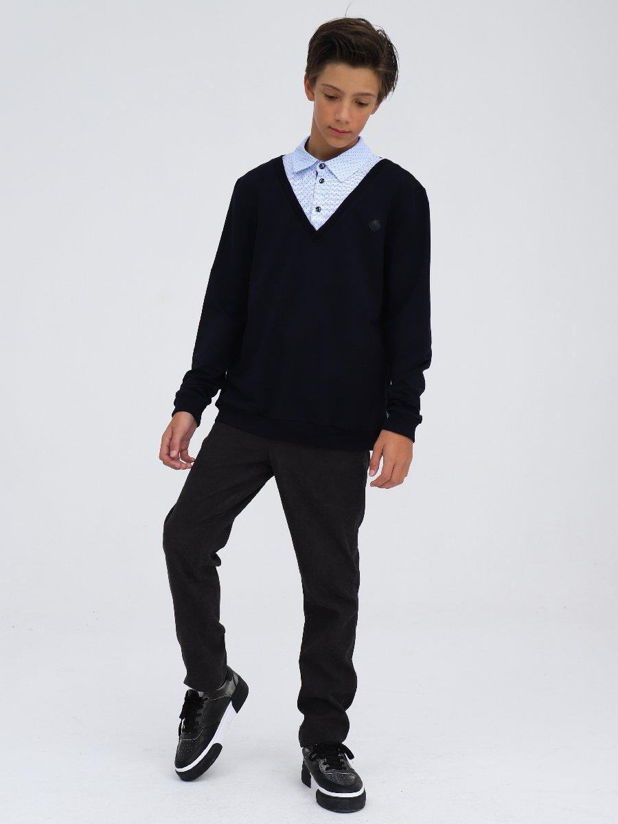Джемпер-обманка трикотажная для мальчика, цвет: темно-синий