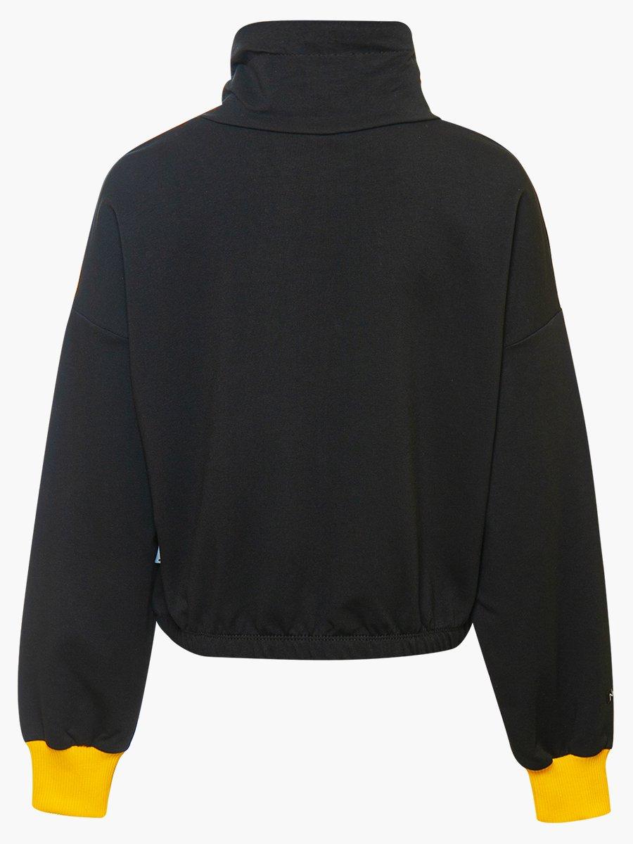 Толстовка укороченная увеличенного объема для девочки, цвет: черный