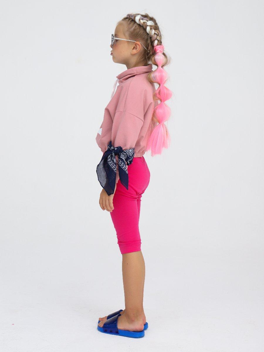 Толстовка укороченная увеличенного объема для девочки, цвет: пудра