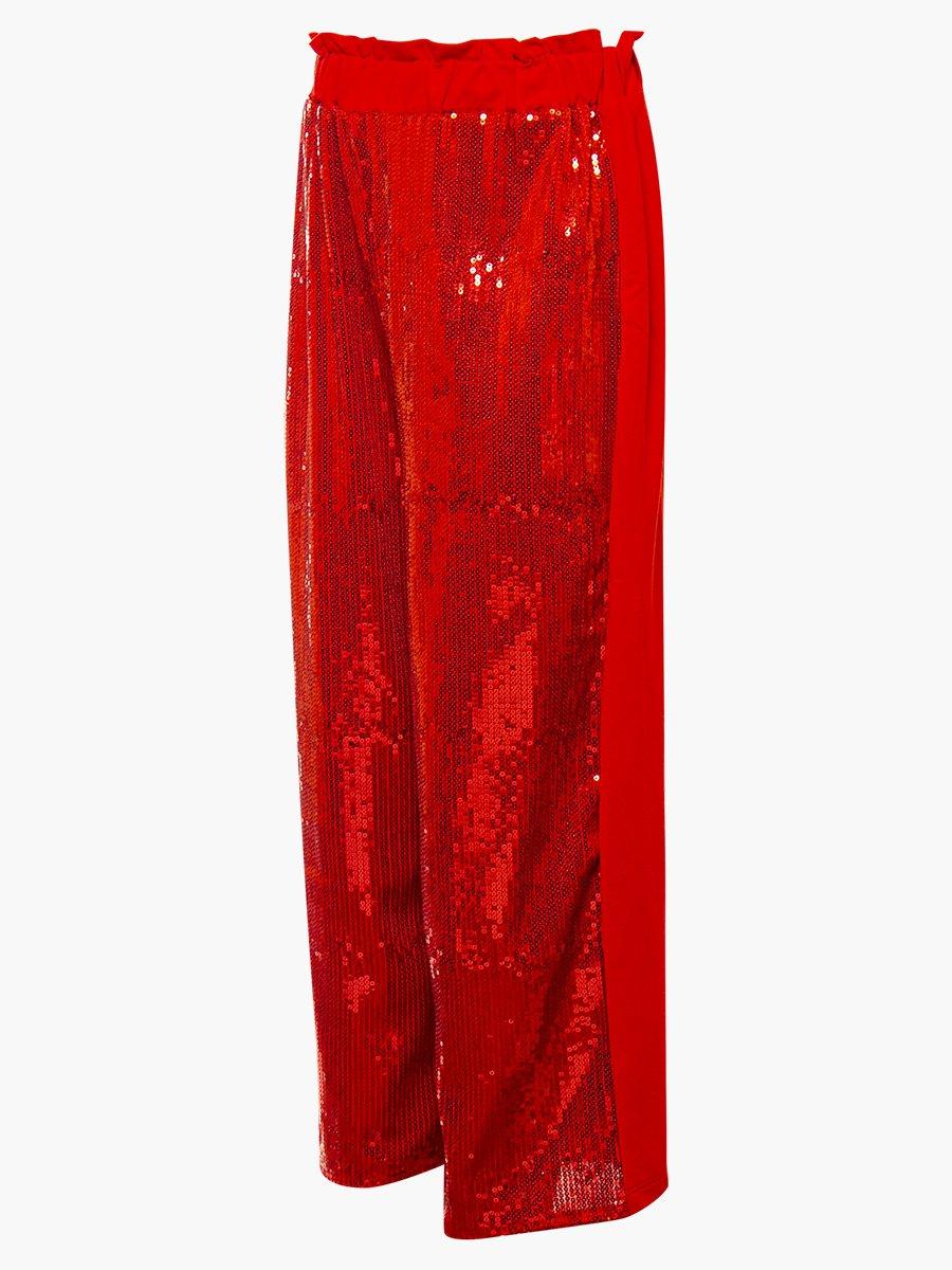 Комплект:свитшот укороченный и брюки кюлоты с завышенной талией, цвет: красный