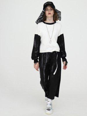 Комплект:свитшот укороченный и брюки кюлоты с завышенной талией