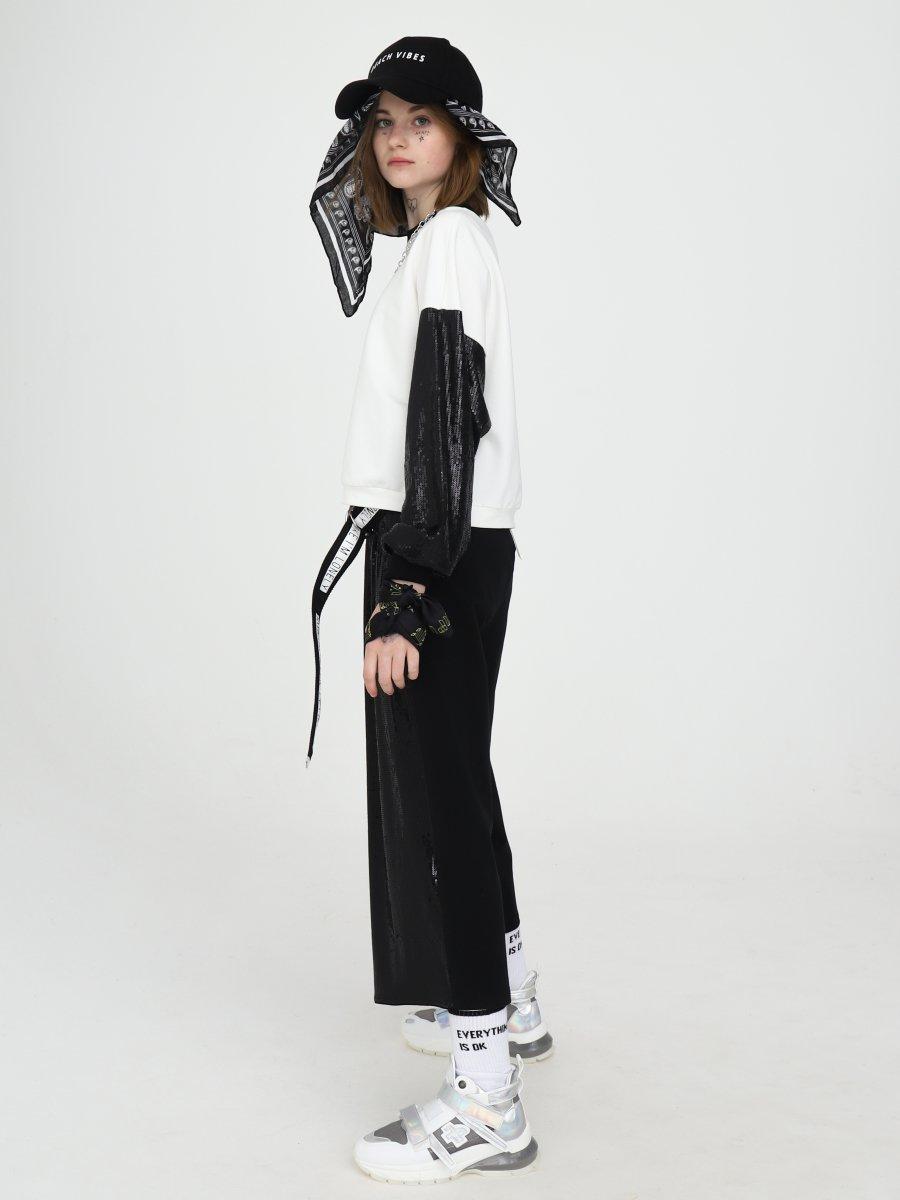 Комплект:свитшот укороченный и брюки кюлоты с завышенной талией, цвет: черный