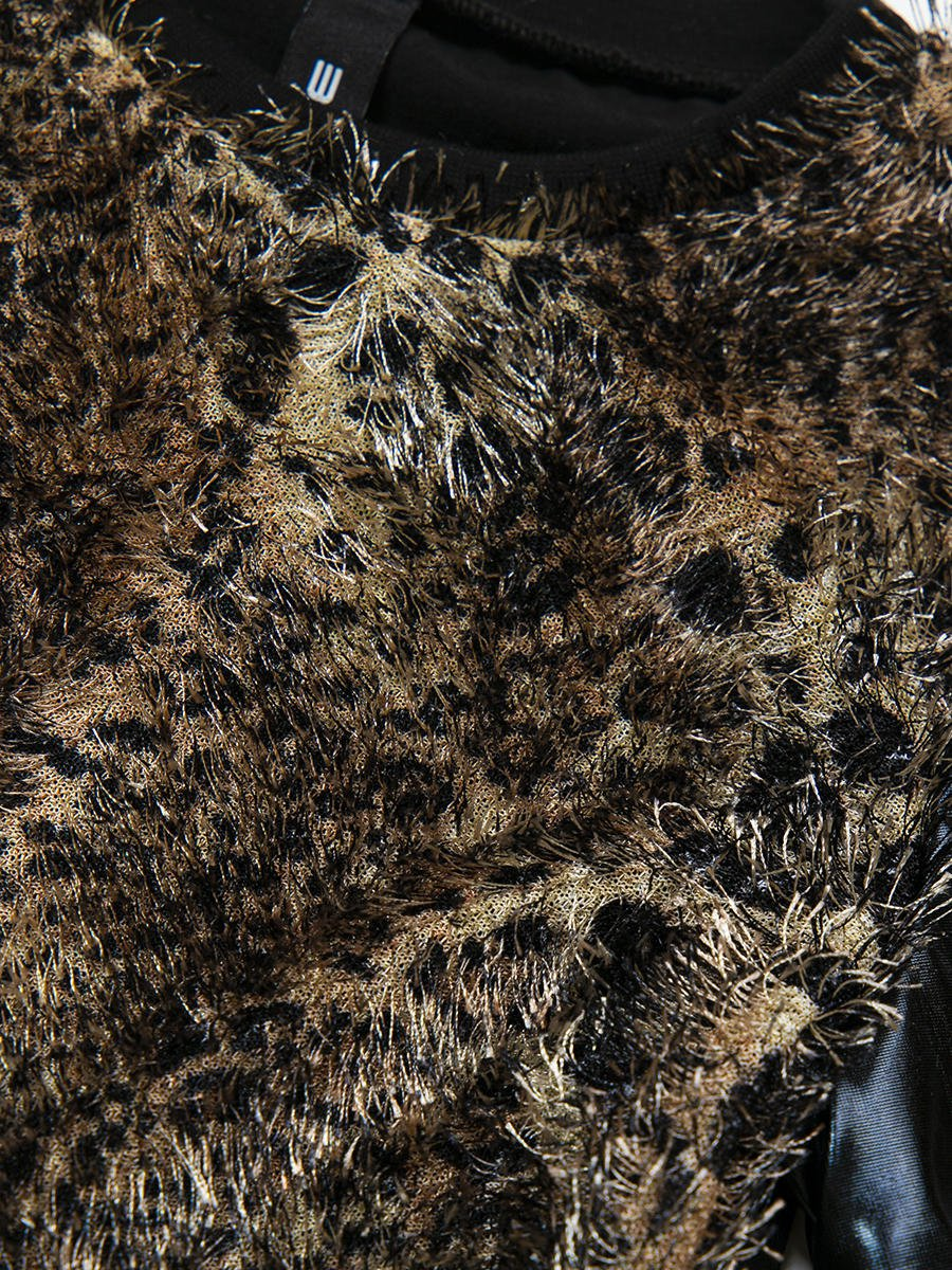 Блузка прямого силуэта, цвет: леопард коричневый,черный