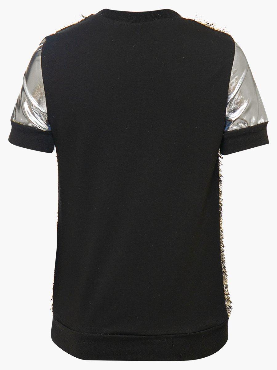 Блузка прямого силуэта, цвет: леопард серый,черный