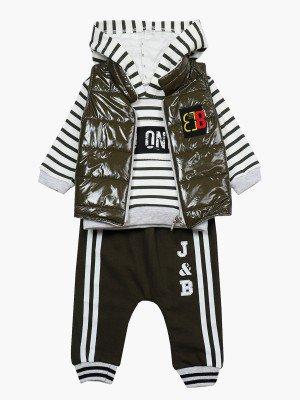 Комплект для мальчика: свитшот, штанишки и жилет на синтепоне