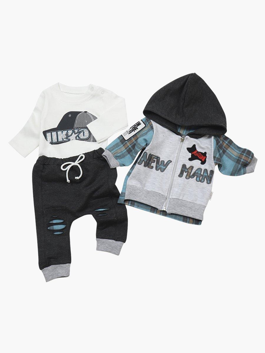 Комплект для мальчика: лонгслив, штанишки и толстовка, цвет: мятный
