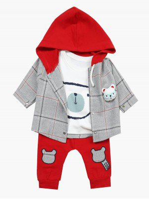 Комплект для мальчика: лонгслив, штанишки и рубашка