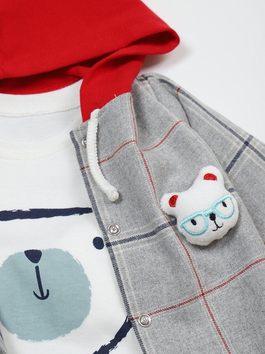 Комплект для мальчика: лонгслив, штанишки и рубашка, цвет: серый