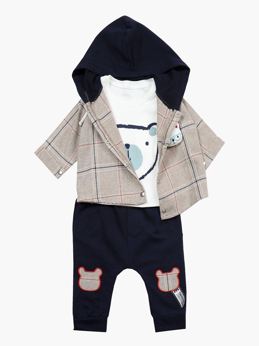 Комплект для мальчика: лонгслив, штанишки и рубашка, цвет: бежевый