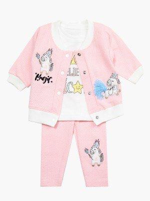 Комплект для девочки: лонгслив, штанишки и кофточка