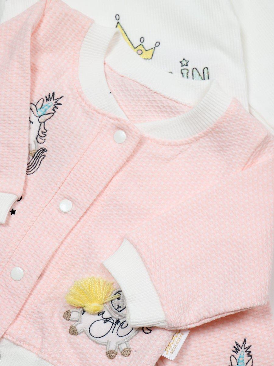Комплект для девочки: лонгслив, штанишки и кофточка, цвет: пудра