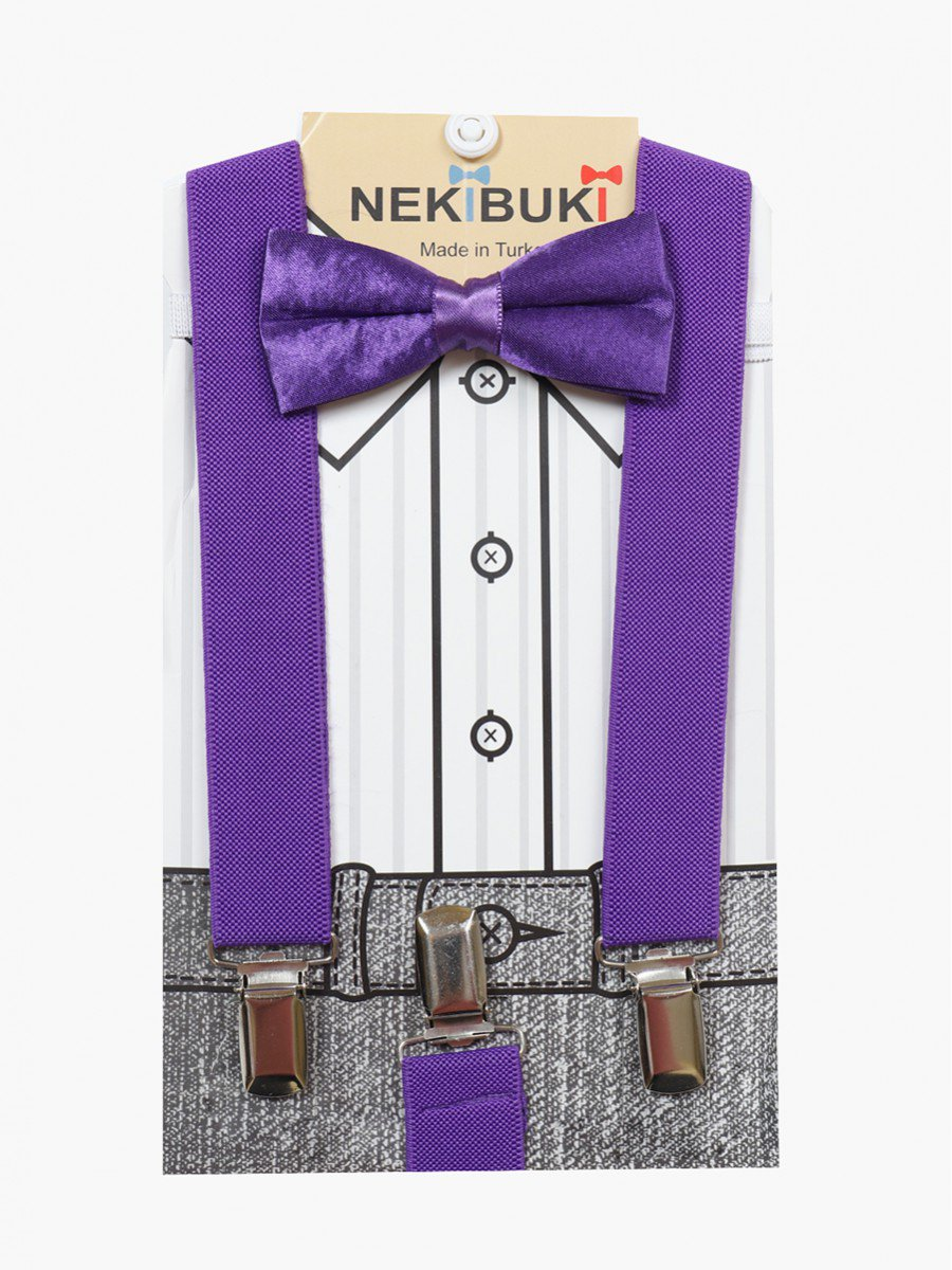 Набор для мальчика (подтяжки и бабочка), цвет: фиолетовый