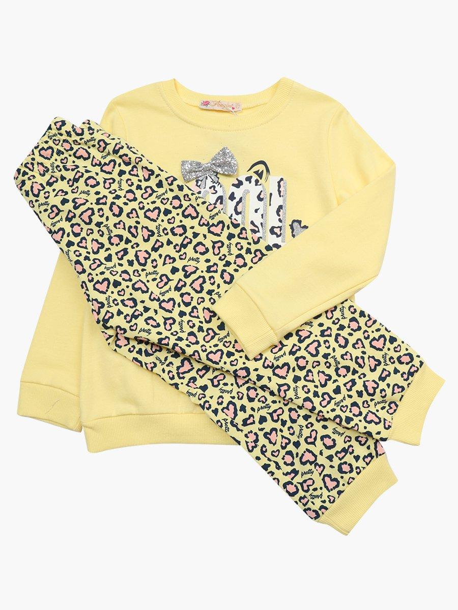 Комплект с начесом для девочки: толстовка и штанишки, цвет: желтый