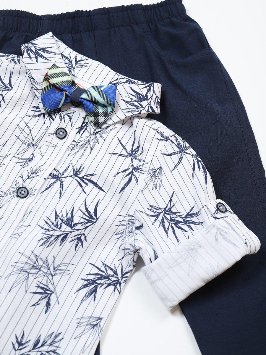 Комплект для мальчика: рубашка с бабочкой и брюки, цвет: темно-синий
