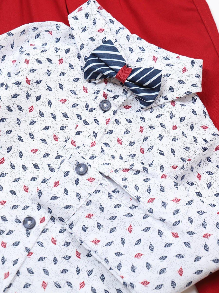 Комплект для мальчика: рубашка с бабочкой и брюки, цвет: бордовый