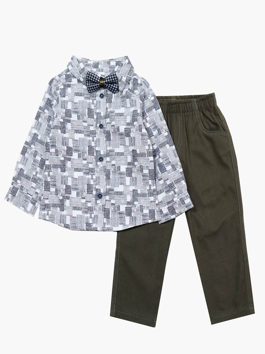 Комплект для мальчика: рубашка с бабочкой и брюки, цвет: хаки